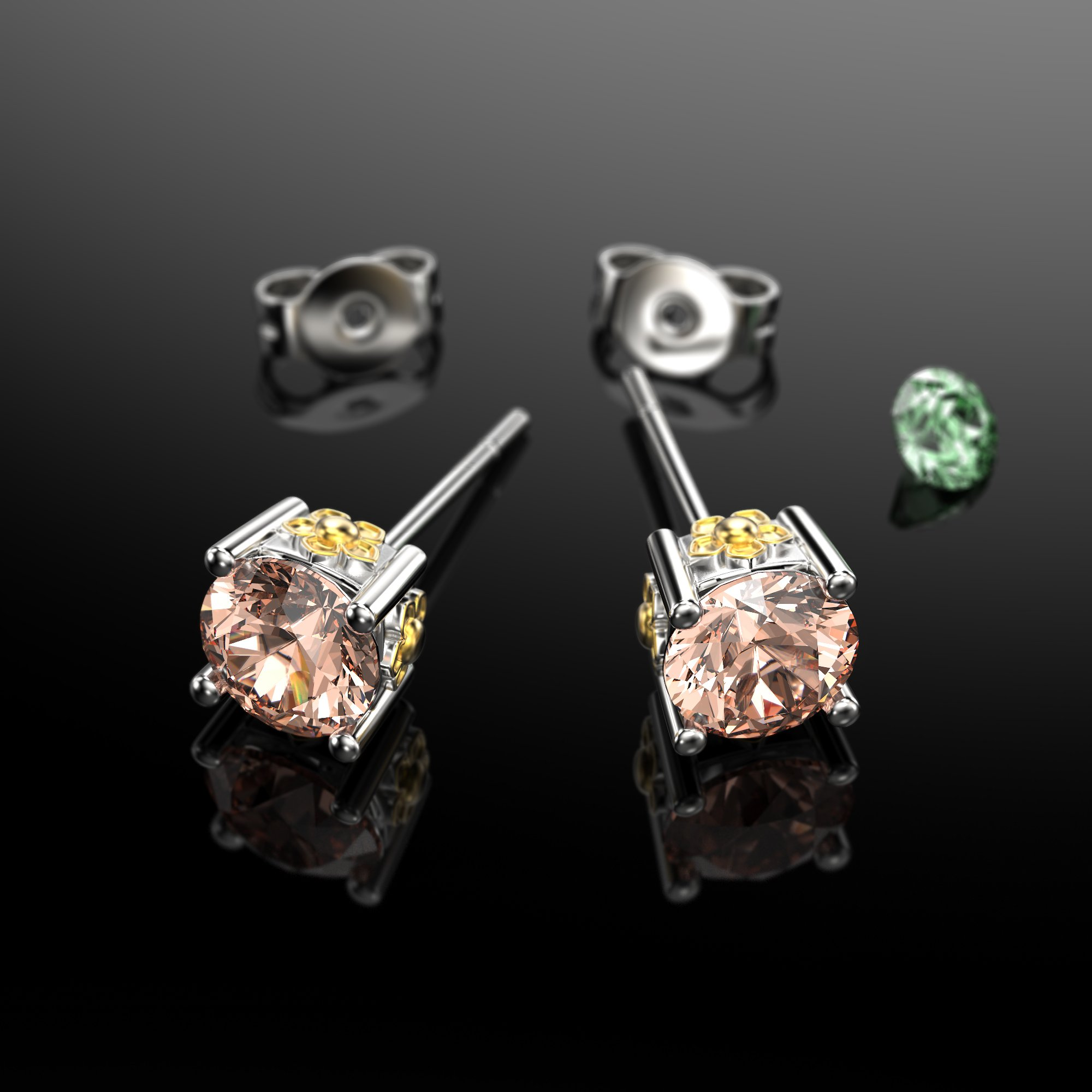 VAN LECONY White Gold and Gold Plated Flower Stud Earrings,Light Peach by VAN LECONY (Image #3)