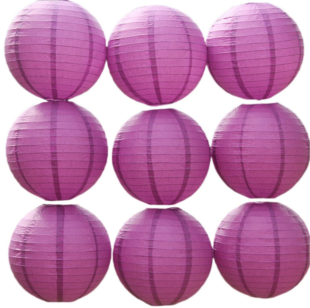 COMVIP 9pcs Home Party Decorative Round Chinese Paper Lanterns Purple Red 8''