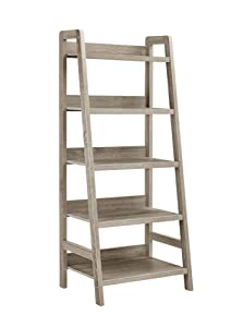 "Linon 69336GRY01U Tracey Ladder Bookcase, 25"" W x 17.99"" D X 60"" H, Gray Wash"