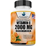 Vitamin C 2000mg with Zinc 40mg Per Serving and Rose Hips Extract, Immune Support for Adults, Immune Booster, Vegan Non GMO,
