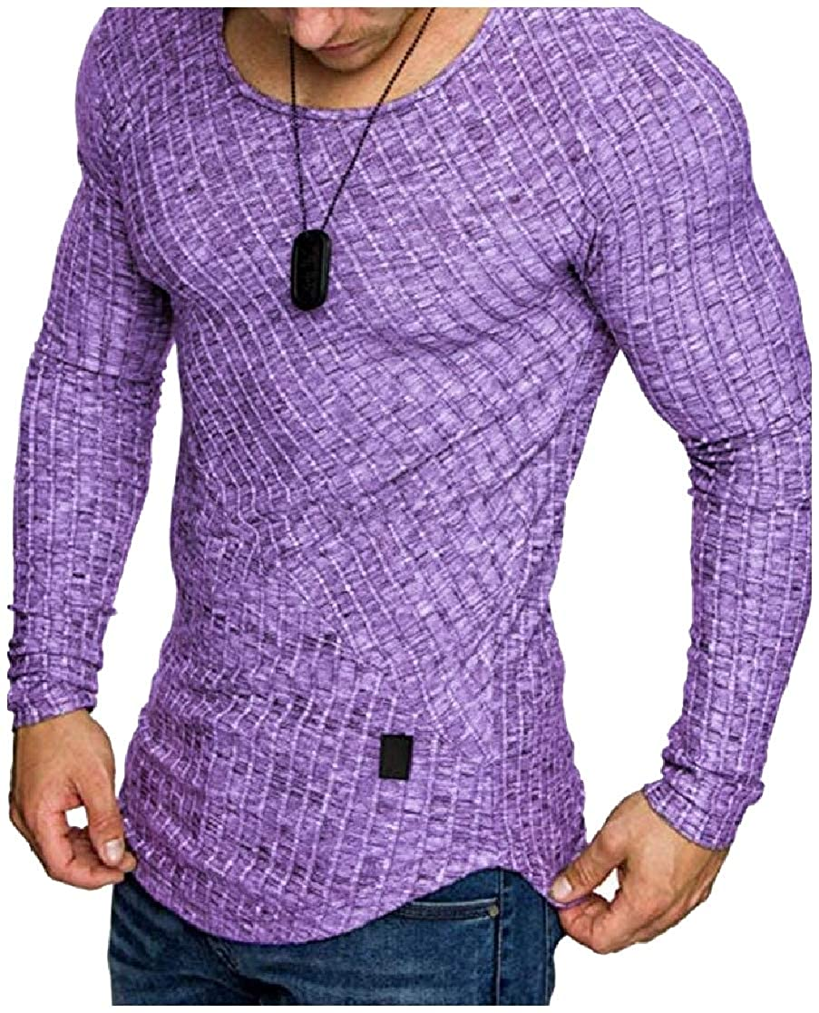 YUNY Mens Solid Color Plus Size Winter Skinny Polo Top Tshirt Purple XL