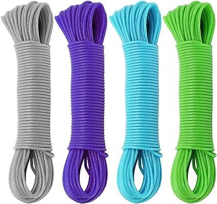 COM-FOUR® - Cuerda para tender la ropa de 80 metros de longitud con alambre de acero, diferentes colores