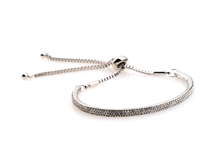 Solid Sparkling Fiji Friendship Bracelet Platinum plated L&X