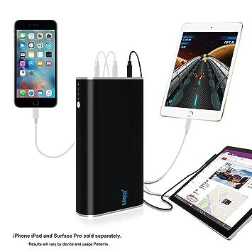 Lizone® 5 puertos (5V/9V/12V/15V) Portable cargador externo batería Power Bank carga rápida para Microsoft Surface Pro3 Pro4 Surface Book, USB puerto ...
