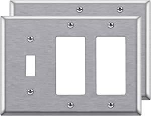 [2 Pack] BESTTEN 3-Gang Combination Metal Wall Plate, 2-Decorator/1-Toggle, Standard Size, Anti-Corrosion Stainless Steel Outlet and Switch Cover, UL Listed, Silver