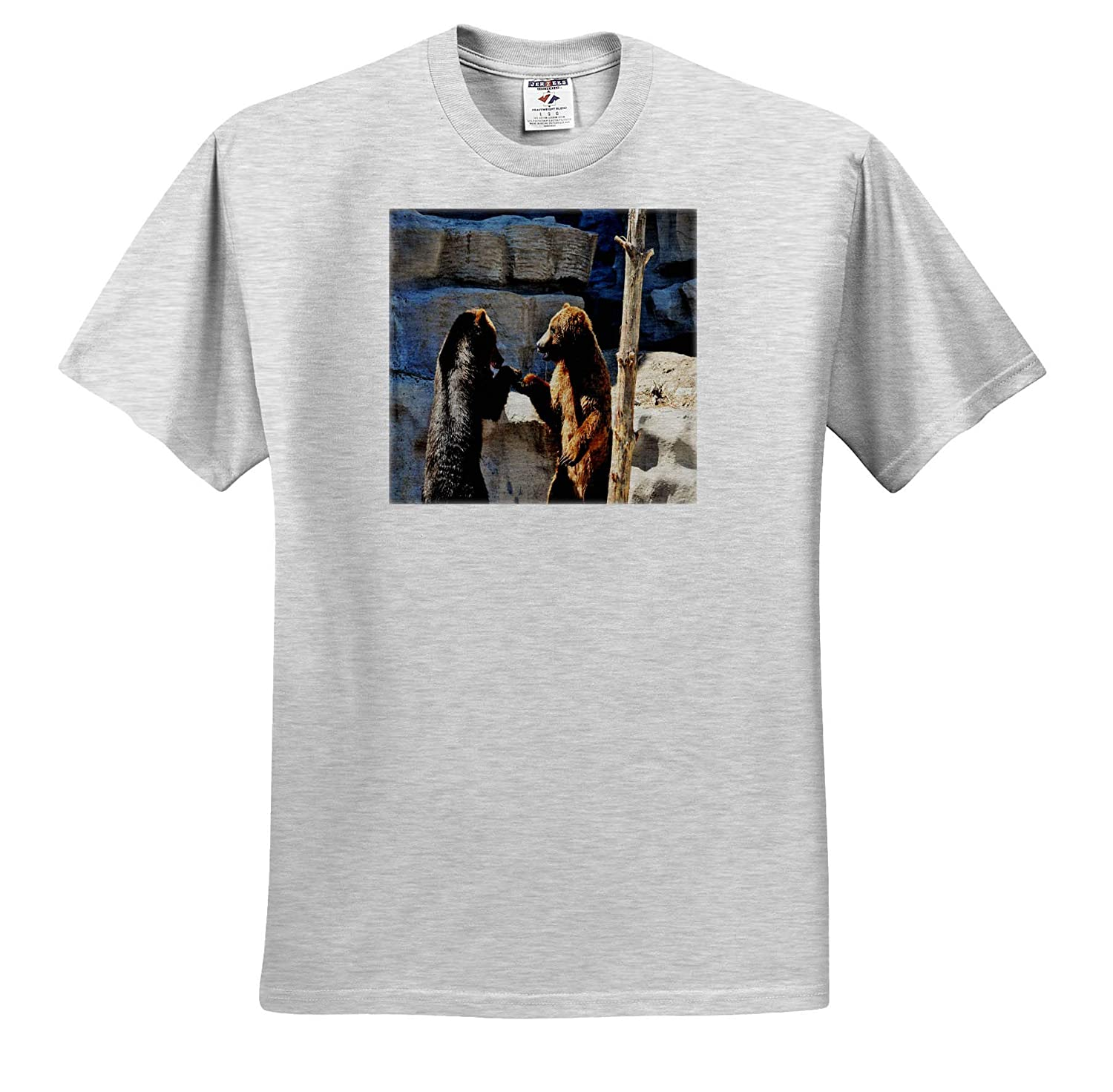 3dRose Dreamscapes by Leslie Brown Bears Hand Shake Animals Adult T-Shirt XL ts/_314229