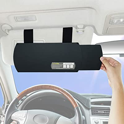 TFY Car Visor Extender Anti-Glare Sun Visor Extender Window Sunshade and UV Rays Blocker - Black: Automotive