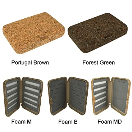 aventik Portugal cajas para moscas naturaleza corcho laminado, mejor Tamaño de bolsillo, tres diferentes
