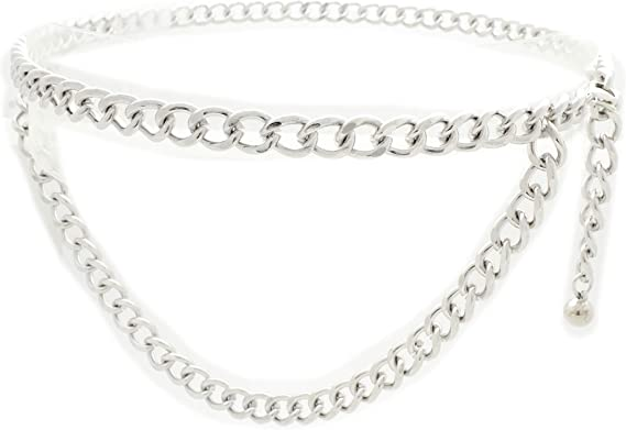 Women High Waist Hip Bling Silver Metal Chain Big 3 Ring Charms Belt Size XS S M