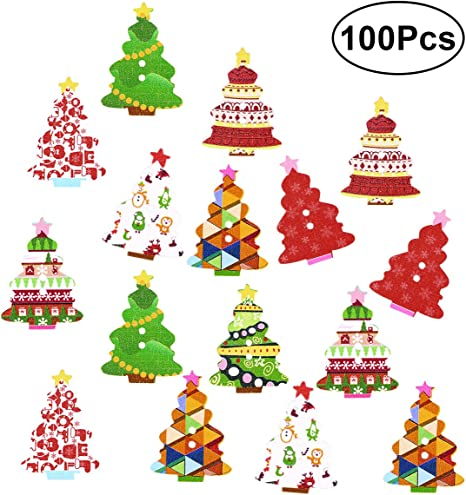 50//100Pcs Assorted Wooden Christmas Buttons for Sewing Scrapbooking Clothing
