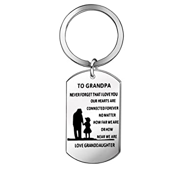 Niceter Grandpa Gift Personalized Car Keychain Keyring Key Chain Ring  Family Thanksgiving Day (Grandpa Granddaughter 8f7aa14bed5f
