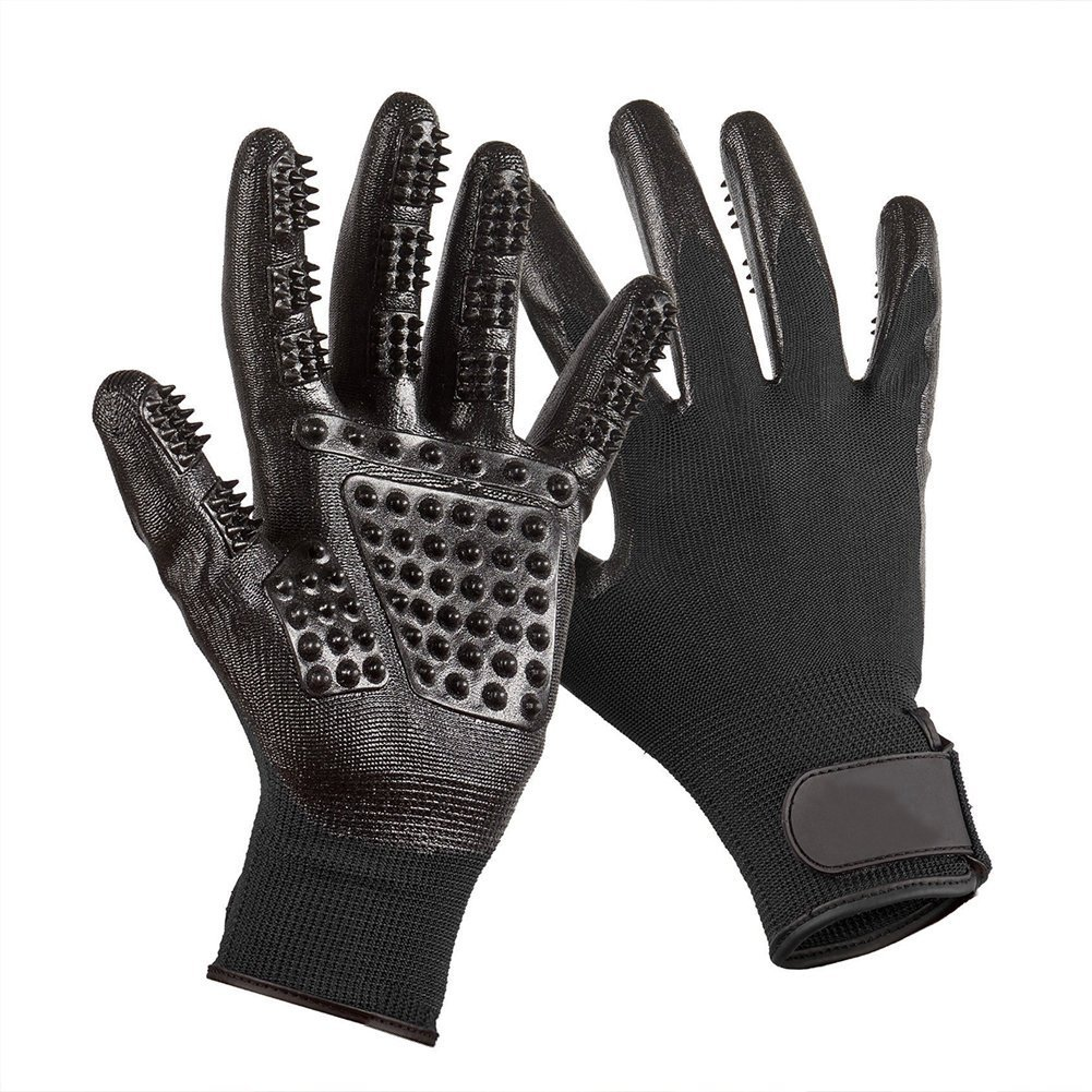Dog Grooming Glove, Hair Removal Mitts, Horse Glove, Cat Mitts Dog Grooming Brushes Gloves Works as Grooming, Bathing, Shedding, Combing and Massage Gloves for Dogs/Cats/Horse, One Pair - Black