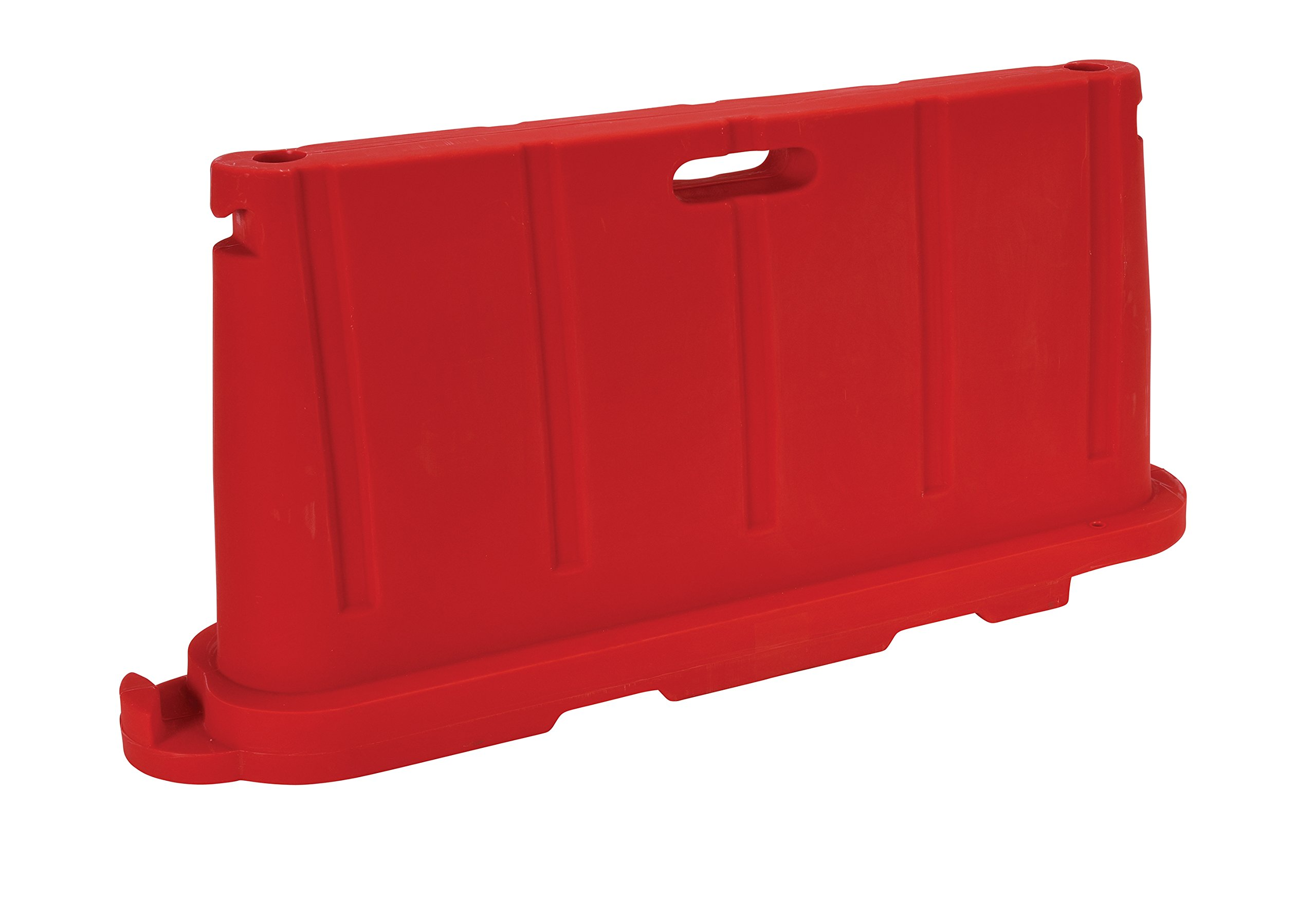 Vestil BCD-7636-RD Stackable/Portable Barricade, Virgin Polyethylene with UV Stabilizer, 5.4 gal Water Capacity, 32.50'' Length x 72.50'' Width x 39.50'' Height, Red