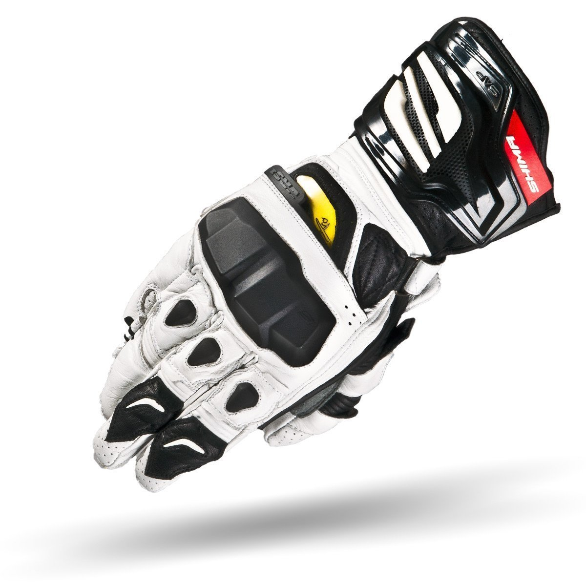 Shima VRS-1 WHITE, Summer KNOX Sport Protective Leather Comfort Motorbike Gloves (S-XXL), White, Size:S