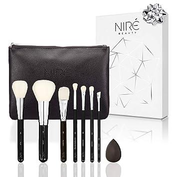 Set de Brochas de Maquillaje Muy Suave: 7 Brochas Profesionales con un Estuche de Maquillaje de Viaje y Esponja Maquillaje. Juegos de Maquillaje ...