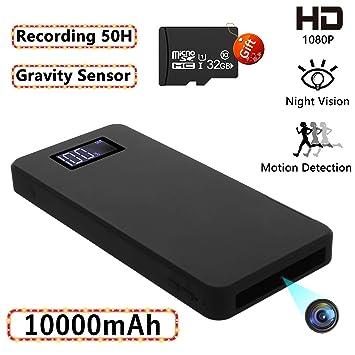 Cámaras espías Ocultas, Mini cámara de Seguridad 1080P con visión Nocturna Detección de Movimiento Gravedad Sensor Grabación en Bucle (incorporada en ...
