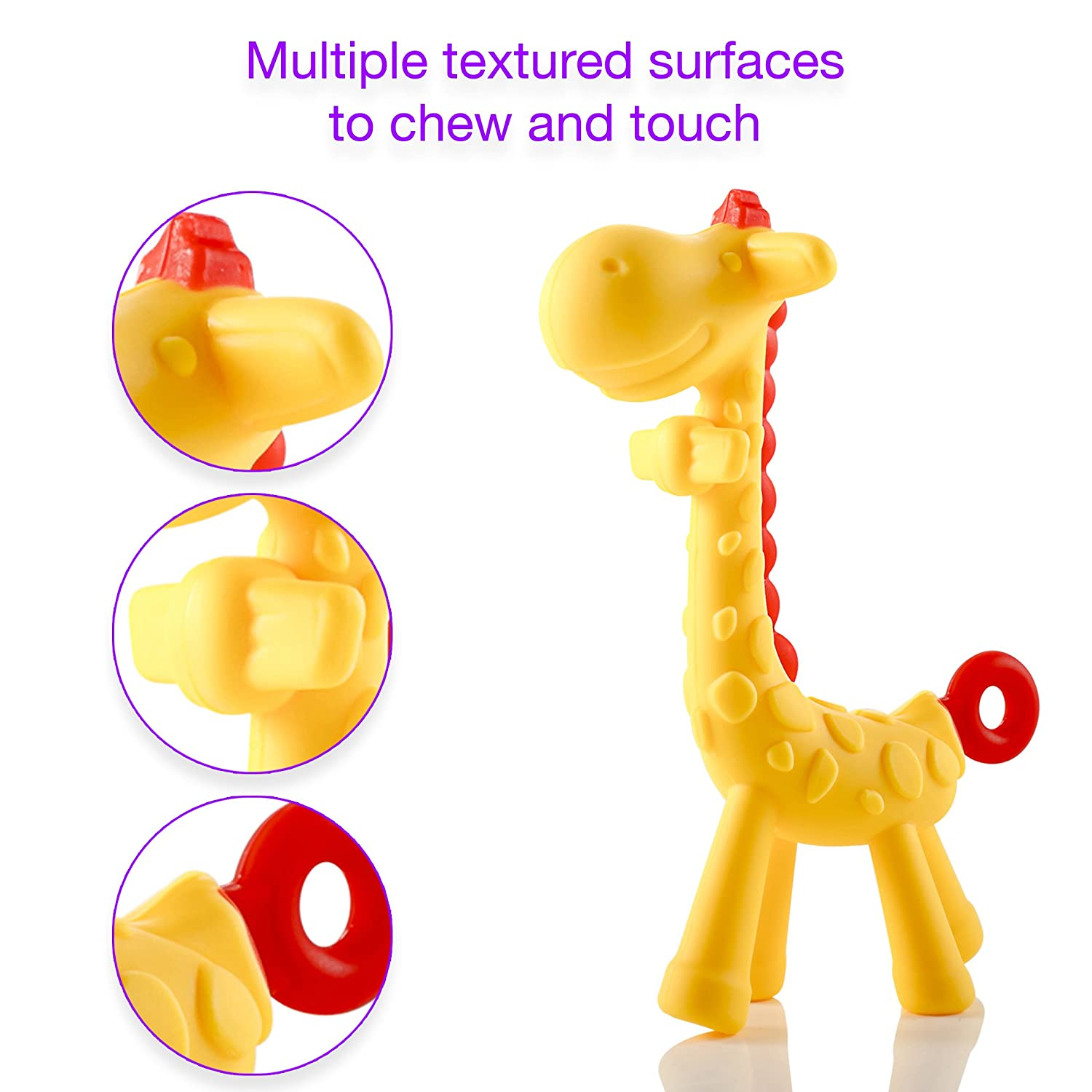 Natural /& Organic BPA-Free Silicone Cute Chew Toys for Boys Girls Textured Infant Teething Relief Giraffe Baby Teether Toy Babies Freezable and Dishwasher-Safe Newborn Toddlers