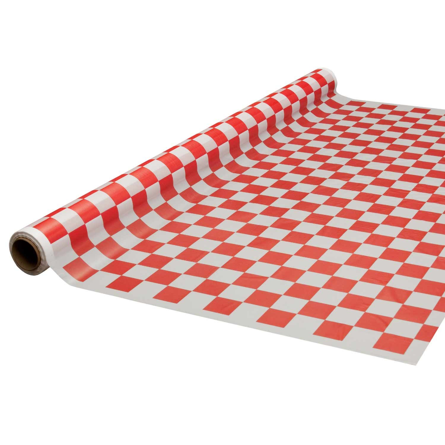Party Essentials Printed Plastic Banquet Table Roll Available in 27 Colors, 40'' x 100', Red and White Checks