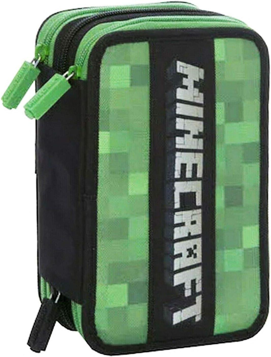 Minecraft - Estuche escolar con 3 cremalleras, con licencia oficial: Amazon.es: Oficina y papelería