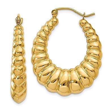 Amazon Com 14k Yellow Gold 4 00mm Scalloped Shrimp Hoop Earrings
