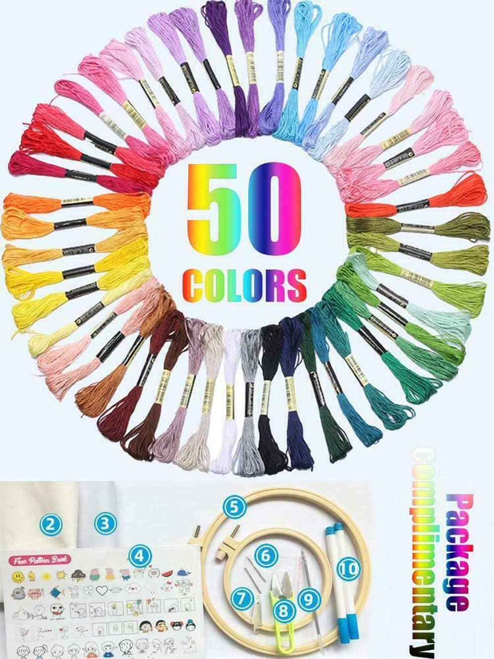 Kits de inicio de bordado con anillos de bambú Hilos y herramientas de color Kit de material de camiseta bordada a mano de bricolaje Regalo para adultos Principiante Principiante (A)
