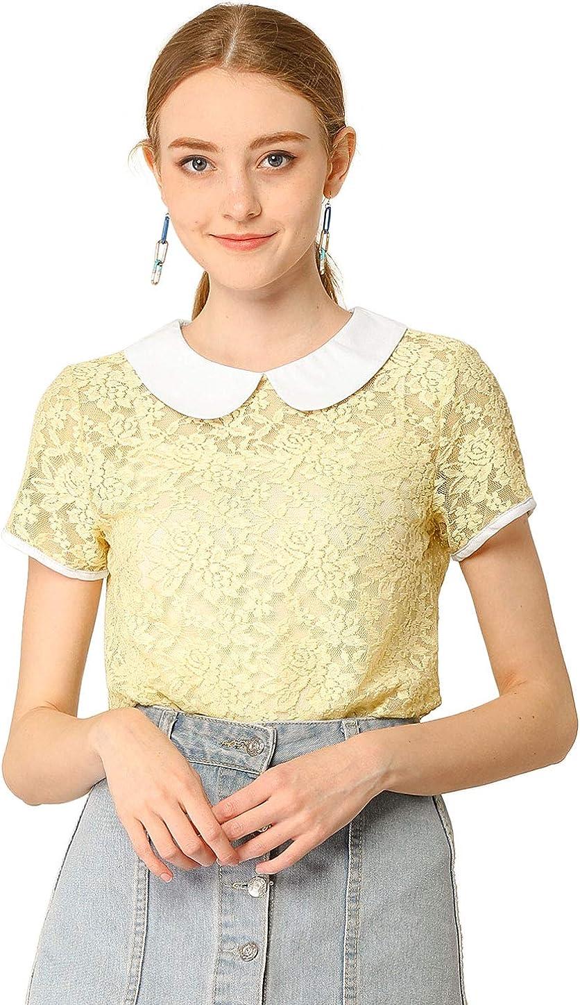 Allegra K Mujer Blusa Transparente Encaje Cuello Babero en Contraste: Amazon.es: Ropa y accesorios