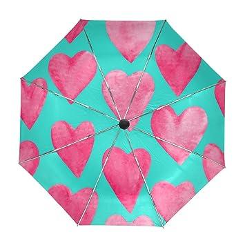 ALAZA Rotic Bonitos Corazones Viaje Paraguas de Apertura automática Cerca de Protección a Prueba de Viento