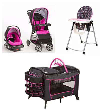 4 Piece Minnie Mouse Pop Newborn Set Stroller Car Seat High Chair Play Yard Bundle Baby