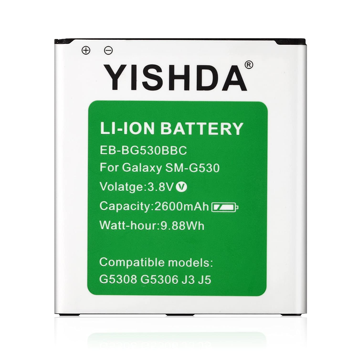 YISHDA 2600mAh Replacement EB-BG530BBC EB-BG530BBE EB-BG530BBU Battery for Samsung Galaxy Grand Prime G530 Galaxy J3 Galaxy J5 0200-048-005N
