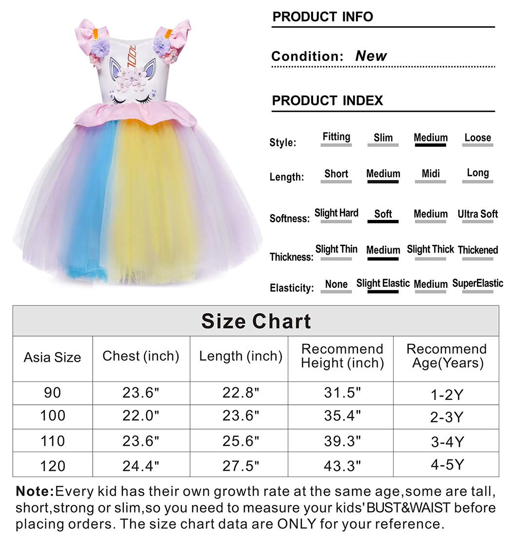 Cotrio Unicorn Costume Fancy Dress Up Flower Girls Dresses Pageant Party Evening Gowns Halloween Tutu Dress 8