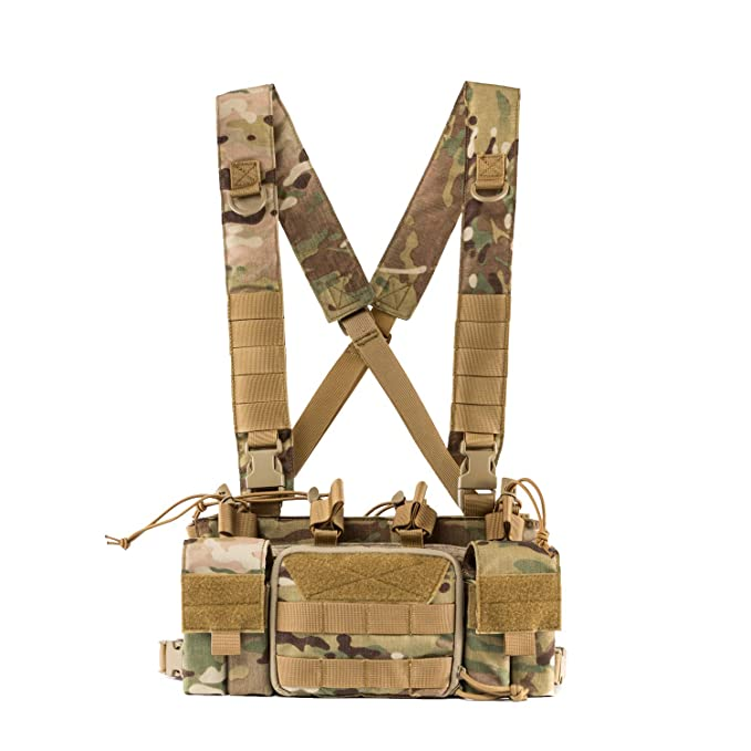 Tactical Chest Rig with 5.56/7.62 Rifle Mag Pouches Pistol Mag Pouches and X Harness for Airsoft Shooting Wargame Paintball