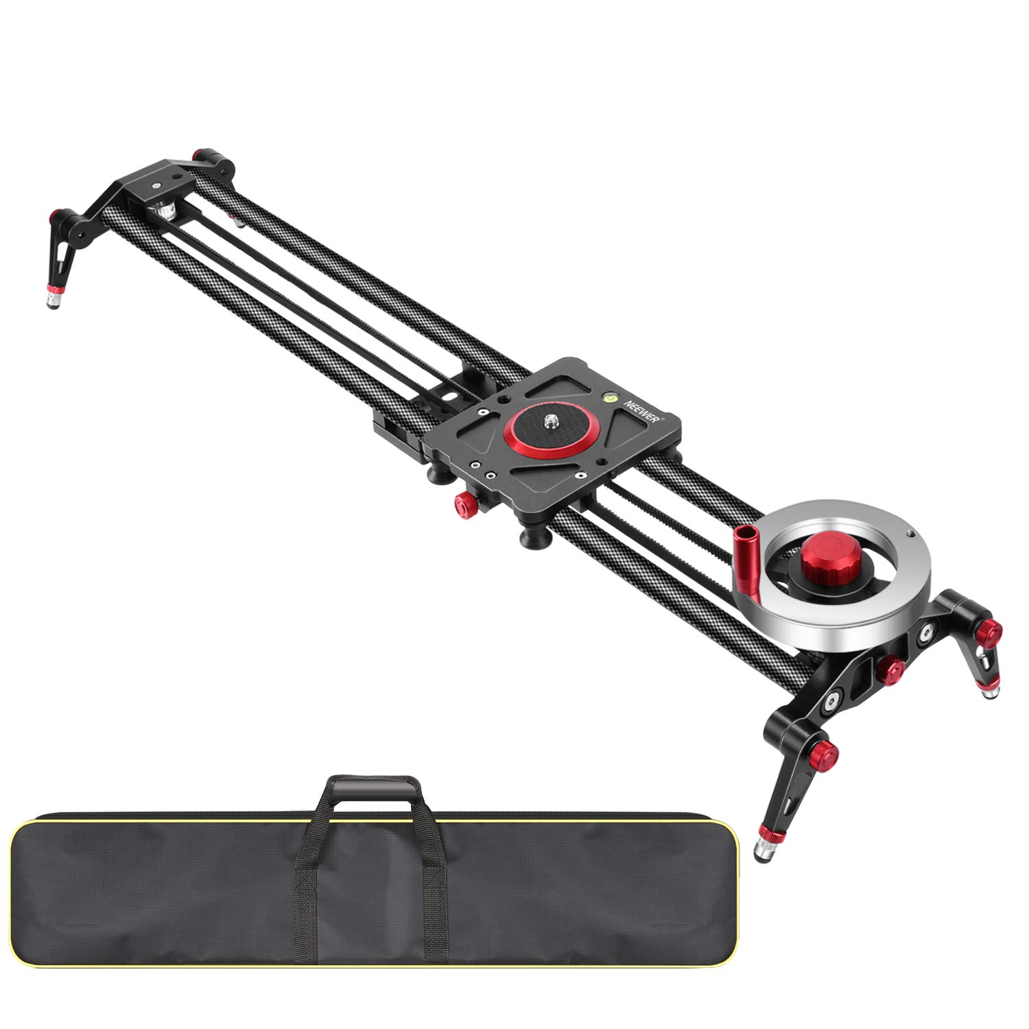 Neewer Camera Slider Video Track Dolly Rail Stabilizer: 31-inch/80cm, Flywheel Counterweight with Light Carbon Fiber Rails, Adjustable Legs, Carry Bag, DSLR Camera Camcorder Track for Filming by Neewer