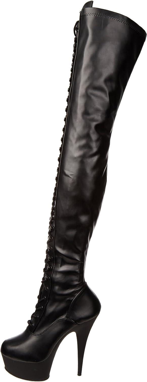 Pleaser Delight-3023, Bottes Non doublées Arrivant au Dessus du Genou Femme Noir Negro Negro Blk Str Faux Leather Blk Matte