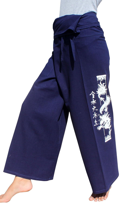 RaanPahMuang Warm Cotton Fisherman Wrap Pants Printed Dragon Column variant15650AMZ