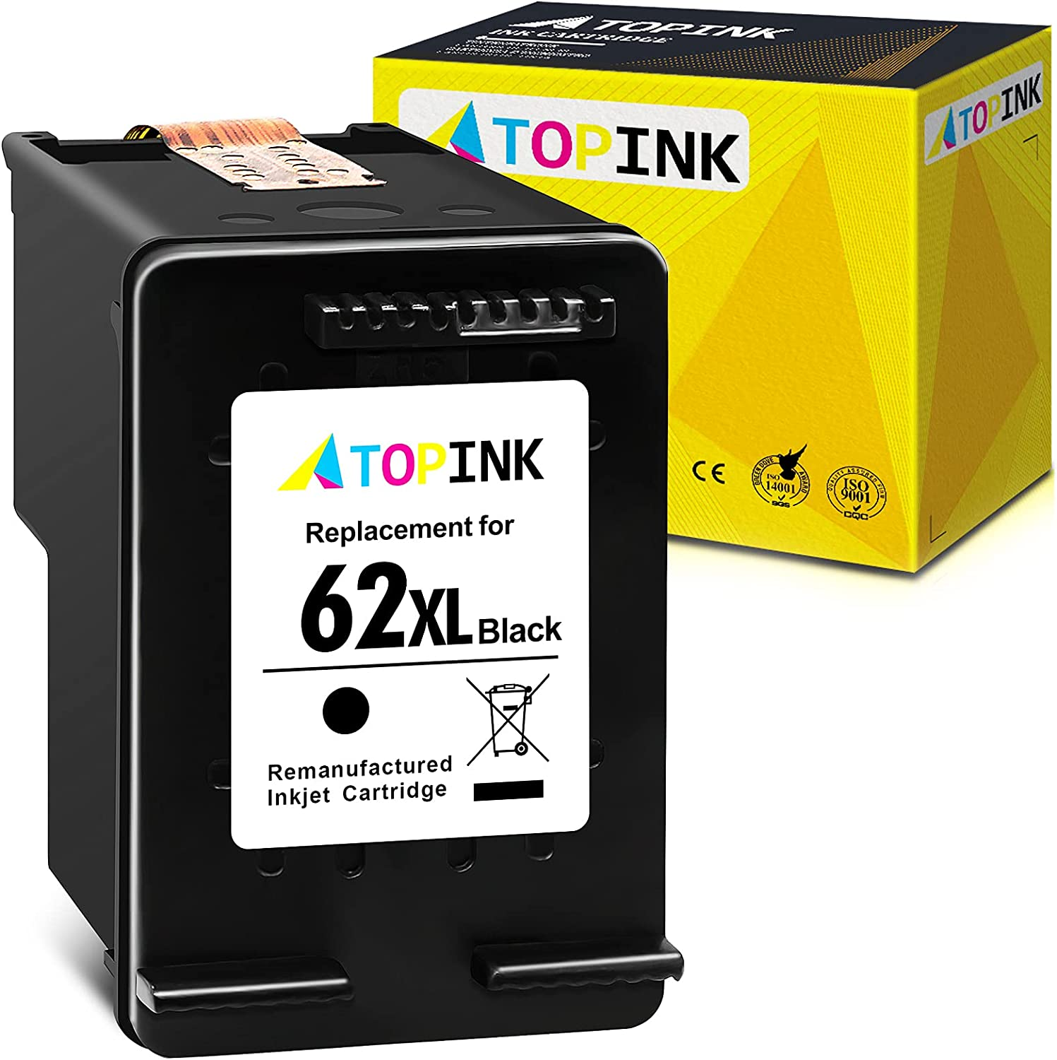 ATOPINK Remanufactured Ink Cartridge Replacement for HP 62XL 62 XL Compatible with OfficeJet 5740 250 5745 200 8040 5744 Envy 7640 5660 5540 5640 5661 5642 5542 5643 5665 5663 5664 7643 (Black) 1-Pack
