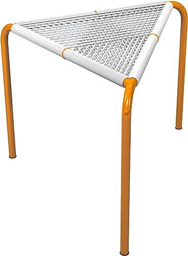 Markamoderna STINGO Hand-Woven PVC Cord Stool, White with Orange Coated Stainless Steel Frame