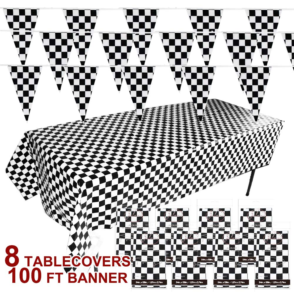 Jalousie 8 Pack Lead-Free 54'' x 108'' Plastic Black and White Checkered Tablecloths Table Cover and Flags Racing Kids Party Banner