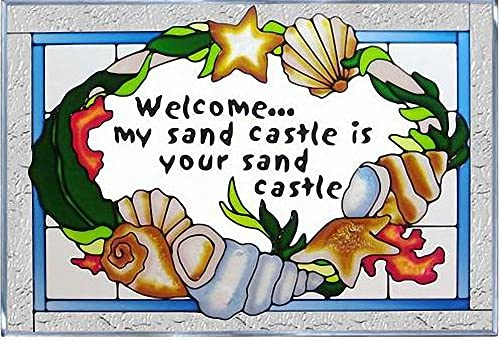 Seashells Sand Castle Welcome 20.5 Wide x 14 High Hand Painted Art Glass Panel