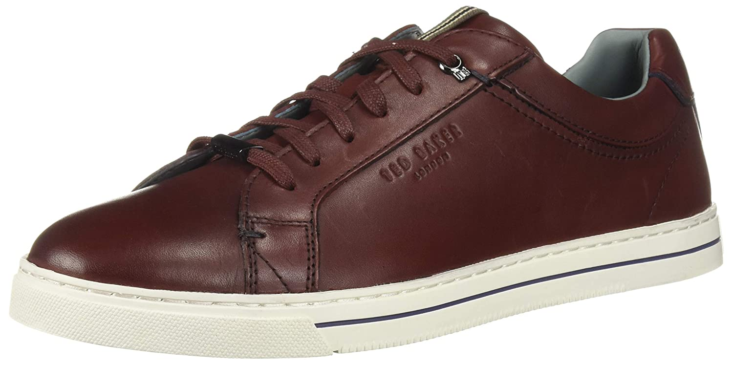 Dark Red Leather Ted Baker Mens Thawne Sneaker