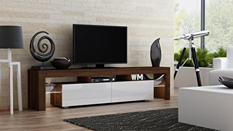 TV Stand MILANO 200 Walnut Line / Modern LED TV Cabinet / Living Room  Furniture /
