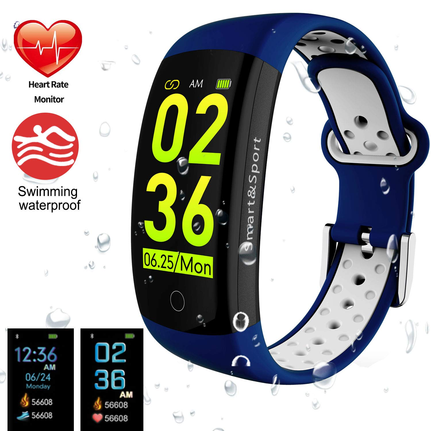 blueee+White feifuns Fitness Tracker Watch, Smart Bracelet IP68 Waterproof Swim Watch Activity Tracker with Heart Rate Monitor Step Calories Counter Sleep Pedometer Watch for Men Women Kids Android iOS