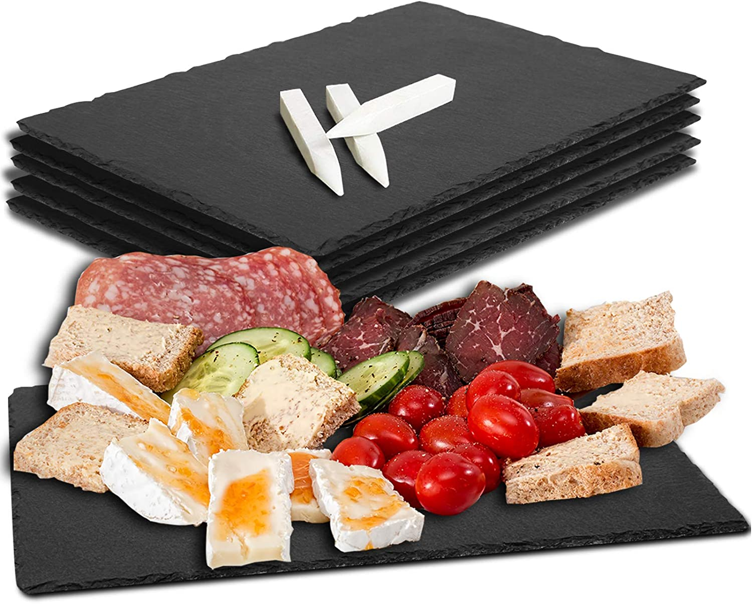 """Slate Cheese Boards, CARL COOPER 6 Pack 8.75"""" x 6"""" x 0.15"""" Stone Gourmet Serving Platter Tray Display Chalkboard with 3 Pieces Soapstone Chalks for Cheese, Meats, Appetizers, Dried Fruits, Black"""