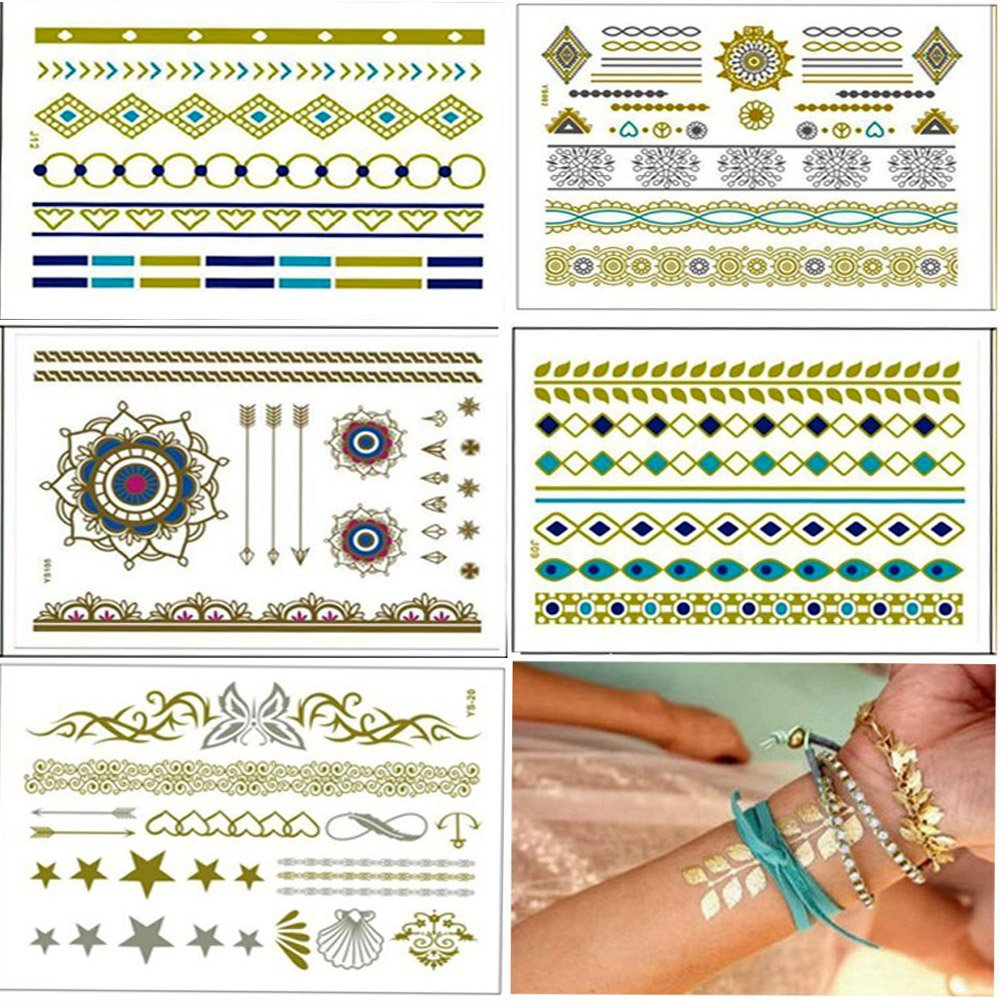 5 sheets metallic temporary tattoos shimmer designs in gold silver custom temporary sticker emporary fake body jewelry flash tattoos stickers bracelets