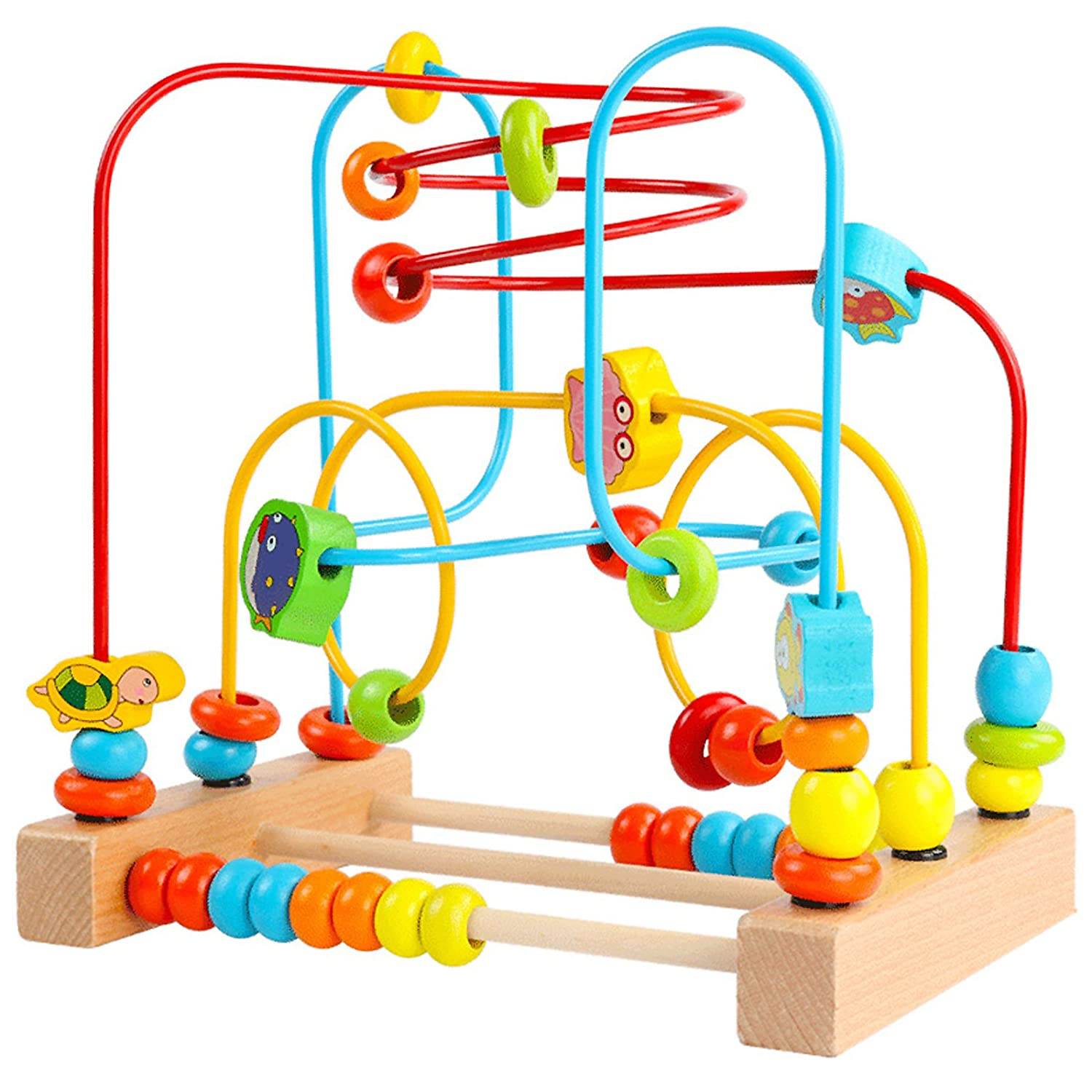 5a4f9ac30026b Amazon.com  Timy First Bead Maze Roller Coaster Wooden Educational Circle  Toy for Toddlers  Toys   Games