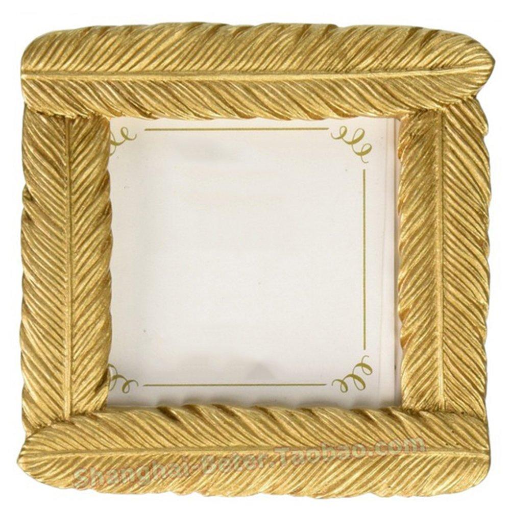 Skyeye Cadre photo (1pour vente), Marron 7.8cm Petit cadre photo doré plumes Cadre de résine Cadre photo