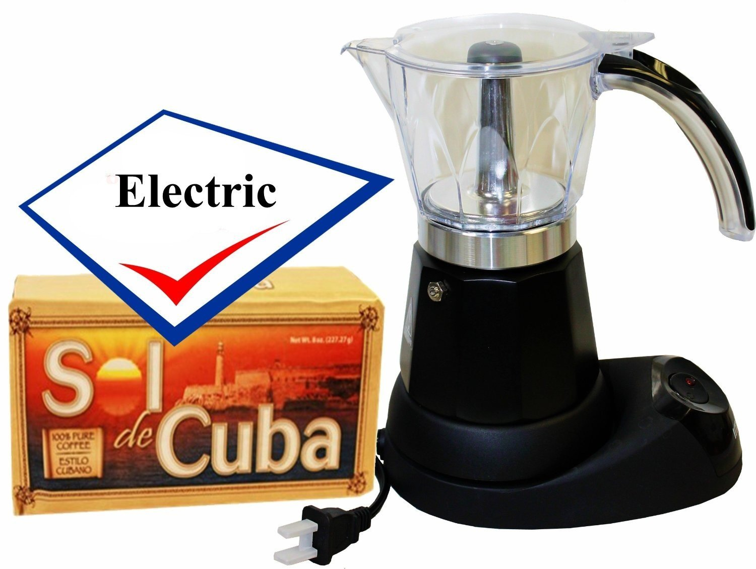 Bene Casa Electric Cuban Coffee Maker Adjustable 3 to 6 Cups Free Coffee Pack BC-90264