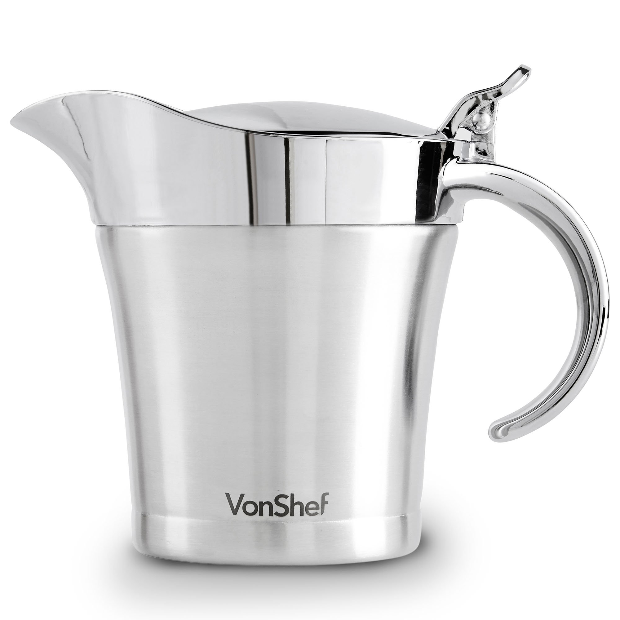 VonShef Double Wall Insulated Gravy Boat and Sauce Jug with Hinged Lid, Stainless Steel, 17 Oz 500ml Capacity