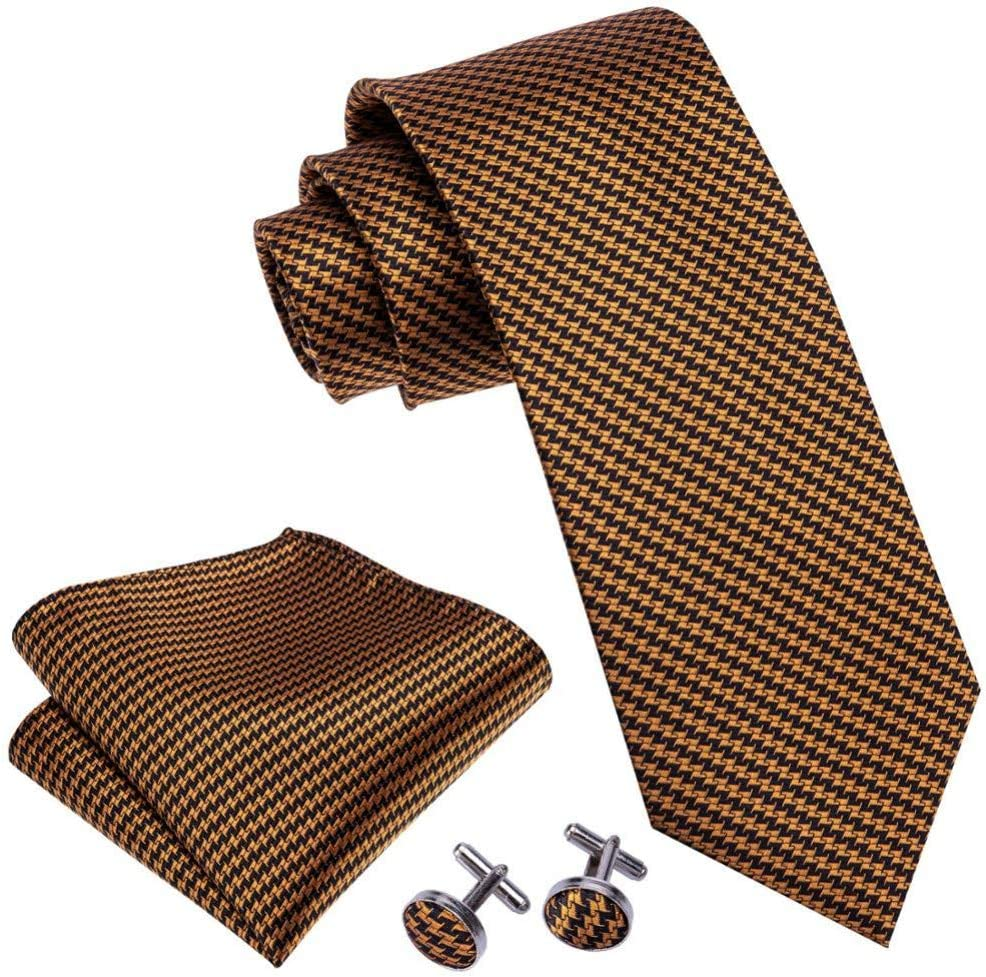 Mens Jacquard Woven Silk Orange Black Brown Plaid Tie Hanky Cufflinks Sets