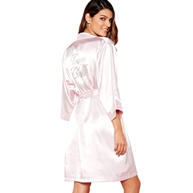 Debenhams The Collection Womens Pink  Team Bride  Satin Dressing Gown ... 86fe442ed