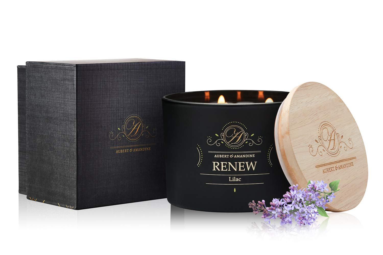 Aubert & Amandine Renew Lilac Luxury Scented 3 Wick Soy Candle for Stress Relief & Relaxation High Intensity Aromatherapy